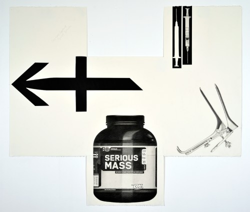 »Sagitaries Suppliment, Syringe Specula #2«, 2014<br />pencil and enamel on paper (folded), 110 x 102 cm<br />