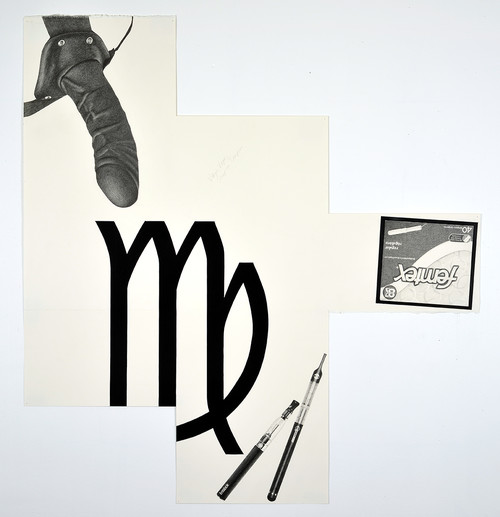 »Virgo Vape, Strap-on Tampon«, 2014<br />pencil and enamel on paper (folded), 110 x 102 cm<br />