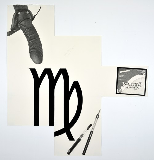 »Virgo Vape, Strap-on Tampon«, 2014<br />pencil and enamel on paper (folded), 110 x 102 cm<br />