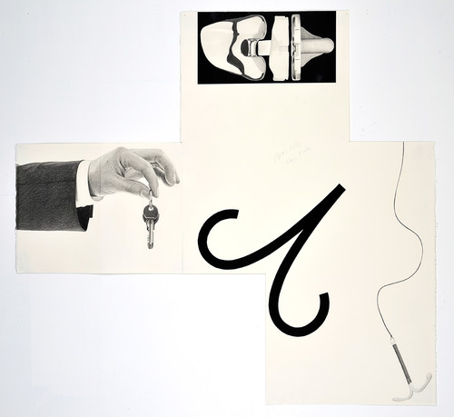 »Aries IUD, Keys Knee«, 2014<br />pencil and enamel on paper (folded), 102 x 110 cm<br />