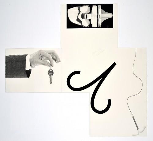 »Aries IUD, Keys Knee«, 2014<br />pencil and enamel on paper (folded), 102 x 110 cm<br />