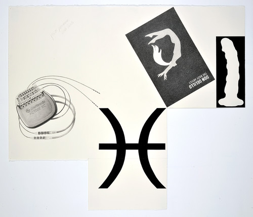 »Pisces Pacemaker, Dildo Delillo«, 2014<br />pencil and enamel on paper (folded), 88 x 102 cm<br />
