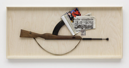<i>n.n.</i>, 2008<br />rifle, paper collage, 69 x 153 cm<br />