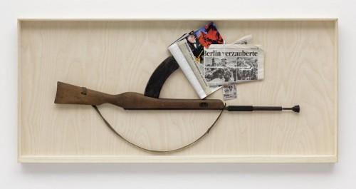 »n.n.«, 2008<br />rifle, paper collage, 69 x 153 cm<br />
