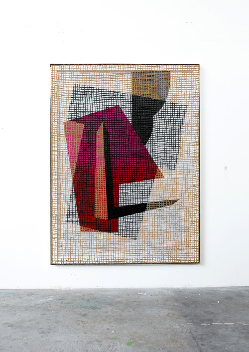 DAVID RENGGLI<br />»Floorplan Desire Painting«, 2015<br />Silk-screen print, acrylic on wood, jute net in aluminium shadow gap frame, 200 x 148 x 6 cm<br />