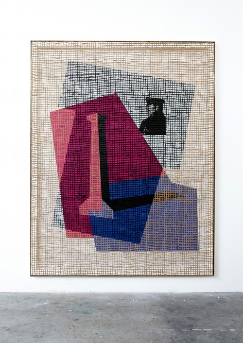 DAVID RENGGLI<br />»Floorplan Desire Painting«, 2015<br />silk-screen print, acrylic on wood, jute net in aluminium shadow gap frame, 252 x 198 x 6 cm<br />