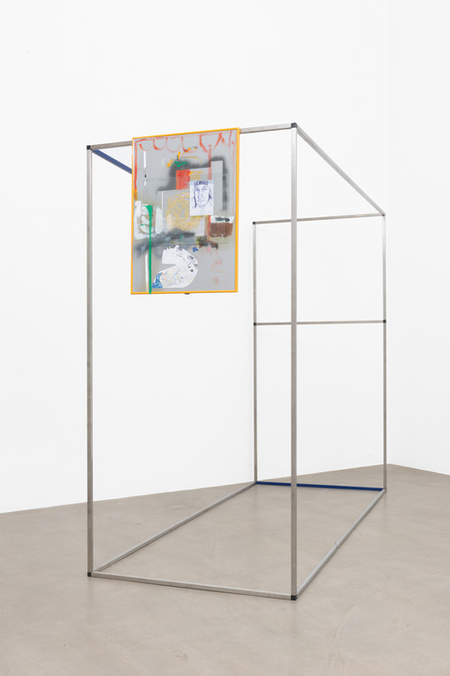 VERENA DENGLER<br />»Helicopter Girlfriend«, 2014<br />Nirosta-rack with PVC plug connection, lacquer, picture with embroidery and collage, 200 x 250 x 100 cm<br />photo: Marcel Koehler/Galerie Meyer Kainer, Vienna.