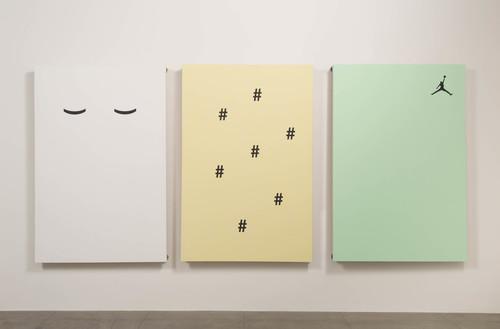 GABRIELE DE SANTIS<br />»((#######Y«, 2014<br />acrylic and Skateboard Grip on canvas, mounted on Skateboard Wheels, 210 x 360 x 10 cm<br />triptych