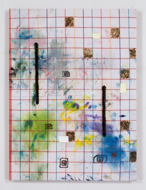 FLORIAN MEISENBERG<br />»From the series: When I am with you we stay up all night. When you are not here I can't go to sleep. (Delivery to the following recipients failed permanently)«, 2015<br />oil paint, oil stick, airbrush, toast prints on kitchen towel, 61 x 46 cm<br />