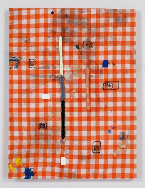 FLORIAN MEISENBERG<br />»From the series: When I am with you we stay up all night. When you are not here I can't go to sleep. (Delivery to the following recipients failed permanently)«, 2015<br />oil paint, oil stick, airbrush on kitchen towel, 61 x 46 cm<br />