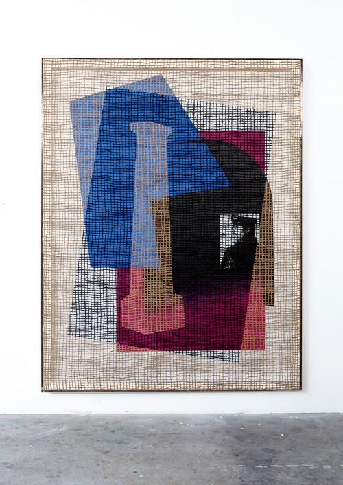 DAVID RENGGLI<br />»Floorplan Desire Painting«, 2015<br />silk-screen print, acrylic on wood, jute net in aluminium shadow gap frame, 252 x 198 x 6 cm<br />