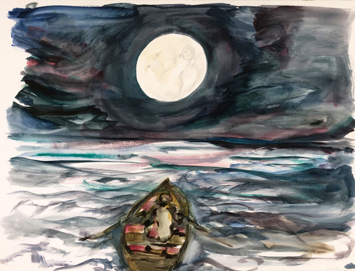 SOPHIE VON HELLERMANN<br /><i>To the moon and back</i>, 2020<br />watercolour on paper, 56 x 67 cm<br />