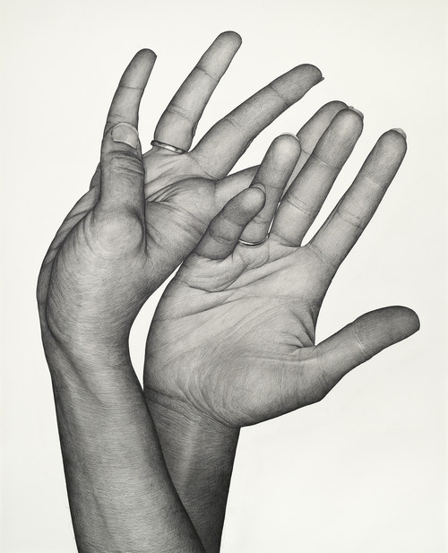 KARL HAENDEL<br /><i>Double Dominant 17 (Tala Madani)</i>, 2020<br />pencil on paper, 162 x 131 cm<br />