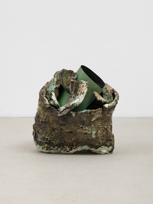 PELES EMPIRE<br /><i>YU 11</i>, 2020<br />glazed ceramic and paper, 35 x 32 x 33 cm<br />